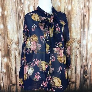 Floral Long Sleeve Spring Blouse